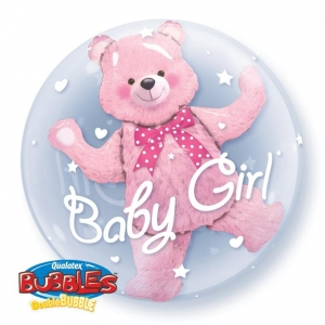 DOUBLE BUBBLE BABY PINK BEAR – 3D ballon. 56cm